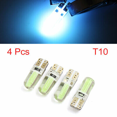 4 Pcs T10 Ice Blue 6 COB LED Car Dashboard Panel Roof Wedge Light Bulb Interior