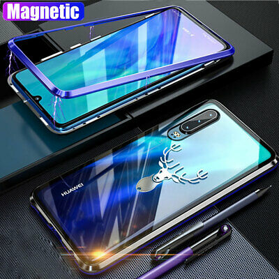For Huawei P30 Pro/Lite Magnetic Adsorption Case 360° Tempered Glass Metal Cover