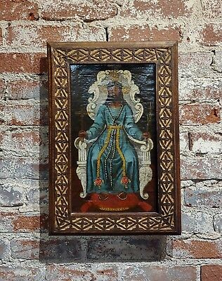 17th century Spanish Colonial Icon -Jesus siting on his Throne -Oil Painting