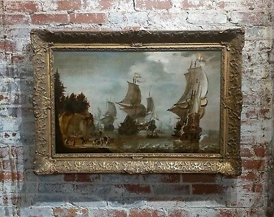 Attributed to Abraham Storck -Dutch Man-O-War - Important 17th c. Oil Painting