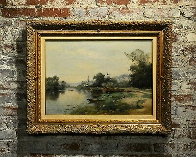 Maurice Levis -Picturesque French River scene -19th century Oil painting