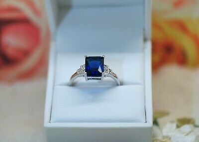 Antique Art Deco Jewelry Gold Ring Blue White Sapphires Vintage Jewelry Size 9.5