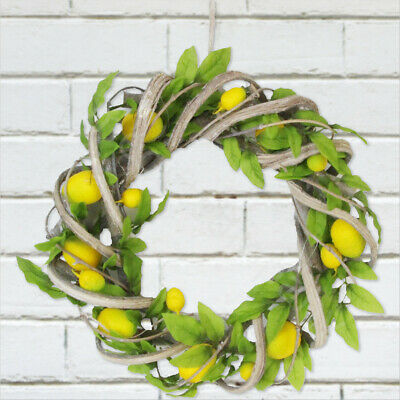 Gisela Graham Lemon Twig Wreath Easter Spring Wall Hanging Home Decoration 22cm