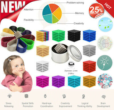 216Pcs 5mm DEVELOPMENTAL BABY TOY MAGNETIC BEAD SPHERE MAGNET PUZZLE KIDS GIFT