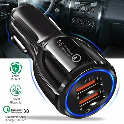 Car Cigarette Lighter Socket Splitter 12V  Dual USB Quick Charger Power Adapter