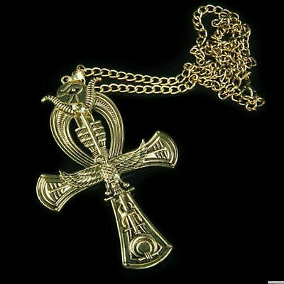 Golden Ankh Egyptian Cross Life Pendant Ancient Brass Pewter Scripture Horus New
