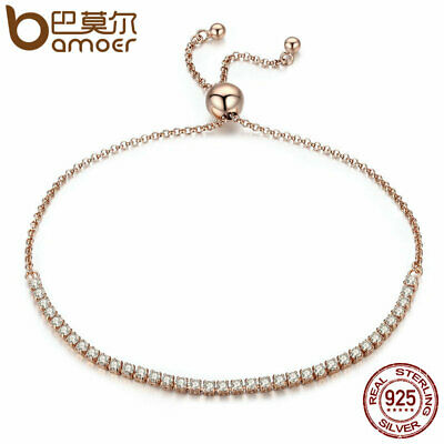 BAMOER Real S925 Sterling silver Women Gold Bracelet Elegantly & Pave CZ Jewelry