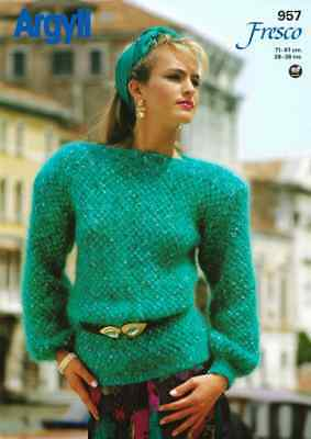 "AR957 LADIES MOHAIR SWEATER KNITTING PATTERN 28-38""/71-97cm"