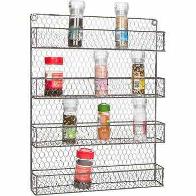 Wall Mount Spice Rack Orginizer Rustic Wire 4 Tier Storage Hunged Shelves Home
