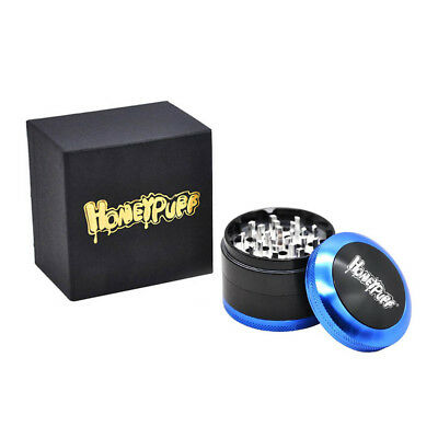 1 x Honeypuff 4 Layers 2.5 Inch Herb Grinder Aluminum Tobacco Crusher - Blue