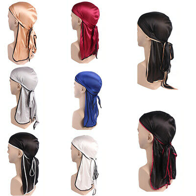 Unisex Satin Breathable Bandana Hat Silky Durag Do Doo Du Rag Long Tail Hea U6B9