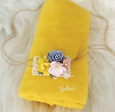 Soft Cheesecloth Wrap Swaddle Headband Baby Newborn Photography Prop In Yellow
