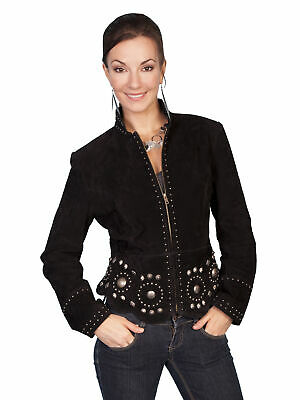 New Women/'s Scully Western Cowgirl Rodeo Suede Fringe Concho Stud Jacket Black