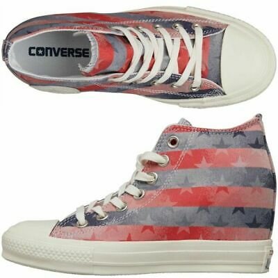 Converse Women's Chuck Taylor All Star Lux Mid WEDGE HEEL Red/Wht/Blue Trainers