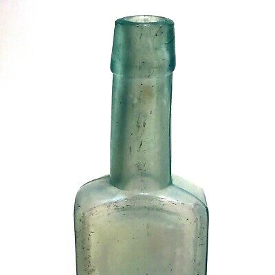 Antique Bottle Aqua Blown In Mold BIM Tooled Tapered Top Neck Dating 1880-1890