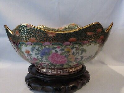 Chinese Export Porcelain Rose Medallion Bowl Centerpiece on Wooden Stand