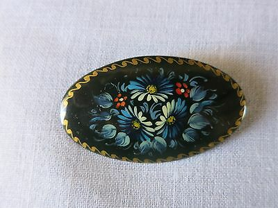 Vintage Russian USSR Handpainted Floral Wood Lacquer Black Brooch Pin Signed