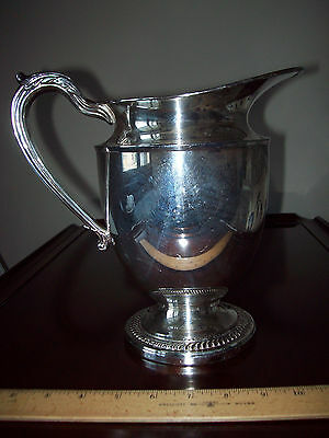 "English Silver Mfg Corp. Large Silverplate Pitcher 8-1/2"" tall - Made in USA"
