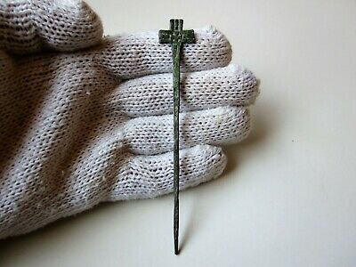 Ancient рerfect Roman bronze votive needle with engraved cross Circa 4 - 5 A.D.