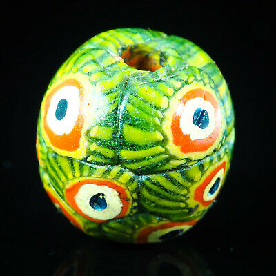 Antique Roman Islamic Peacock eye glass Lovely Green Sand Core World Glass Bead