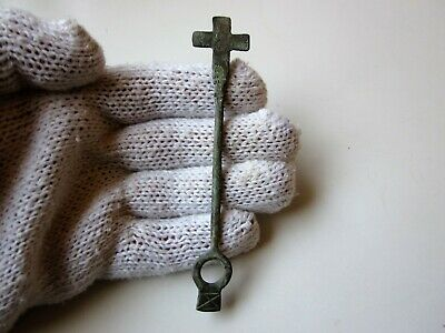 Ancient perfect Roman bronze votive stick  with cross  Circa 4 - 5 century A.D.