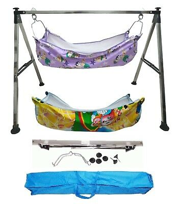 Baby Cradle, Cote, Swing fully folding Steel with cotton hammocks KR307