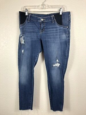 bb2a95b79812e Isabel Maternity Inset/Side Panel Distressed raw hem Skinny Jeans size 10