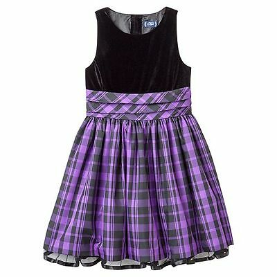 NWT Girls 16 Chaps RALPH LAUREN Black Velvet Purple Plaid Dress
