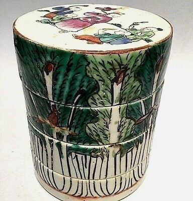 Old Chinese Lucky Cabbage Hand-paint Tiffin Food Carrier Ceramic Qing Dy 19th