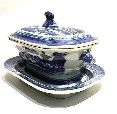 Antique Chinese Blue & White Trapezoid Porcelain Deep Bowl Ming Dynasty