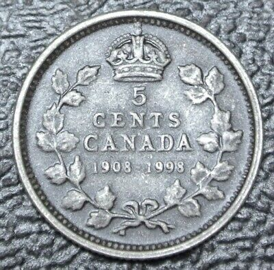 1908-1998 CANADA ONE CENT .925 SILVER - ANTIQUE -90th Anniv. Royal Canadian Mint