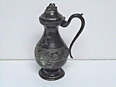 """J.F. Curran Co. Extra Plate Syrup (?) Pitcher Patented 1865 8.5"""" Good Cond."""