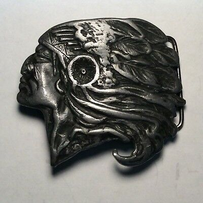 Vintage native american indian chief belt buckle c-60 ( A )