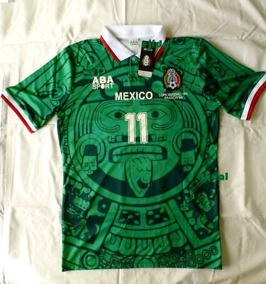 7dabcf582 New ABA SPORT Mexico 1998 BLANCO #11 Jersey LARGE RETRO France Home TRUE  SIZE