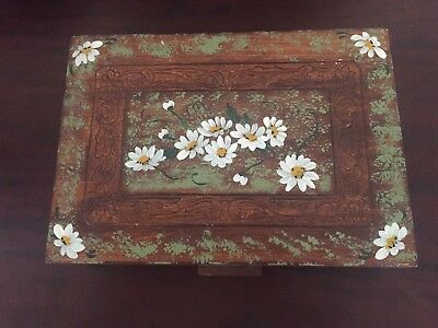 Vintage Preowned Used Hand painted Flowers Wooden Jewelry Trinket Box