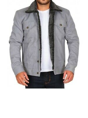 Leather jackets for mens, classic style inside grey fur Jean pants buttons close