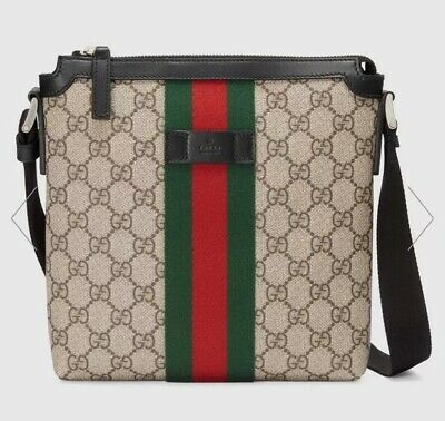 02d90c2e9 GUCCI MONOGRAM CANVAS Web GG Supreme Flat Messenger Crossbody Bag ...