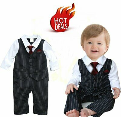 16f9a4367b8 Baby Boy Wedding Christening Formal Party Suit Dress Outfit Clothes NEWBORN  0-3M