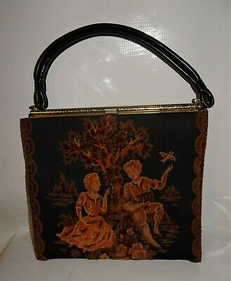 VINTAGE 1950's-60's PETIT POINT TAPESTRY COURTING COUPLE HANDBAG~PURSE