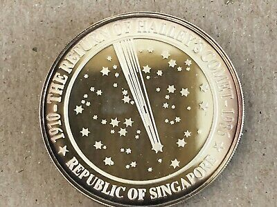 1986 SINGAPORE RETURN of HALLEY'S COMET PROOF TONED ON RIMS 1 oz Silver