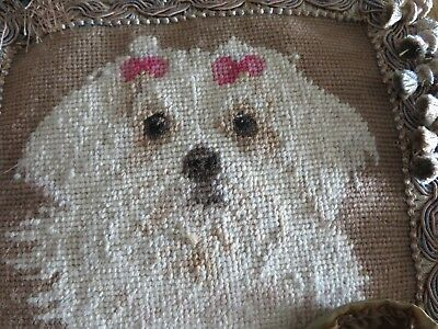 Adorable Antique HUGE Needlepoint Maltese Puppy Dog Custom Made Pillow UNIQUE