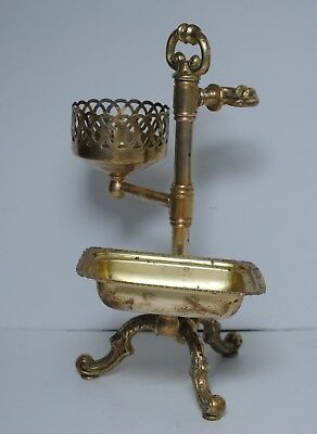 Vintage Art Deco Solid Brass Bathroom Stand Soap Dish Cup Cloth Towel Holder
