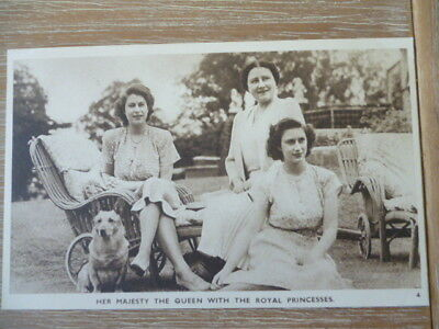 vintage unused post card Her Majesty the Queen with Royal Princesses