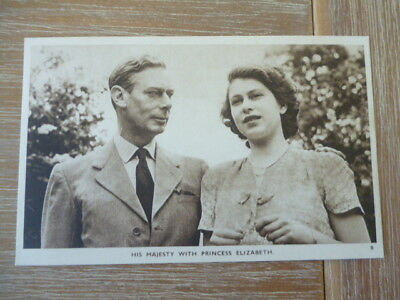 vintage unused post card his Majesty with Princess Elizabeth