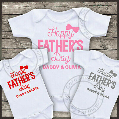 Personalised Bodysuit Happy Father's Day Daddy & Your Name Girls Baby Grow Vest