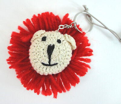 Macy's Crocheted Lion Head Face Keychain New with Tag