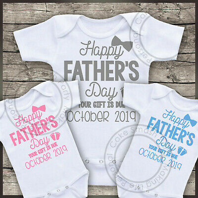 Personalised Baby Bodysuit Pregnancy Reveal Happy Father's Day Your Gift Is Due