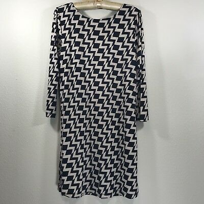 Women's Trixxi Black Cream Lattice Back Retro 70s Swing Dress Sz medium