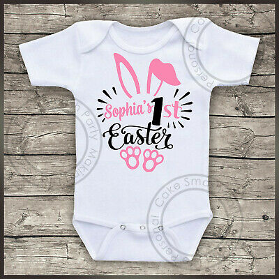 Personalised Bodysuit YOUR NAME 1st Easter Girls Baby Grow Bodysuit Vest