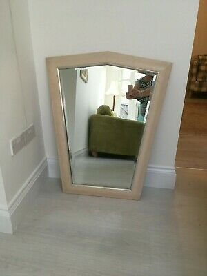 Vintage Extra Large Unusual Shaped Cream Wooden Framed Bevel Edge Wall Mirror